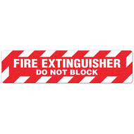 """Photograph of an anti-slip floor safety sign reading """"Fire Extinguisher Do Not Block"""" in white on a red background."""