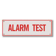 """Picture of the Alarm Test Aluminum Sprinkler Identification Sign, 6""""w x 2""""h."""