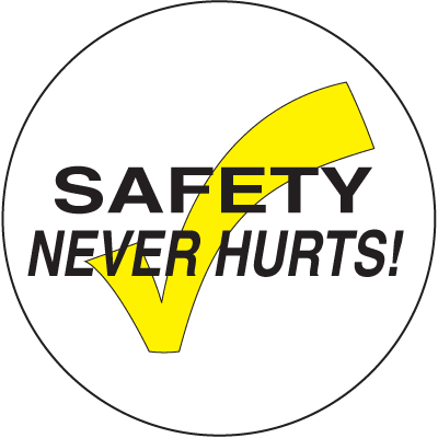 A yellow and white photograph of a 05212 anti-slip safety floor marker, reading safety never hurts with graphic.