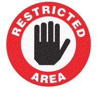 A red and white photograph of a 05217 anti-slip safety floor markers, reading restricted area with graphic.