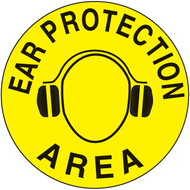 A yellow and black photograph of a 05218 anti-slip safety floor markers, reading ear protection area with graphic.