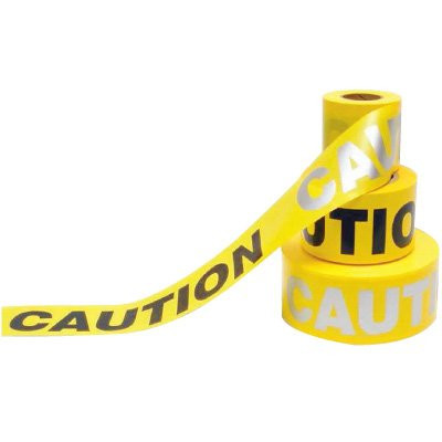 A yellow and black photograph of a 05350 day/night barricade tape, reading caution.