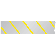 A photograph of a 05360 reflective barricade tape, with silver color yellow stripes.