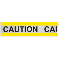 A yellow and silver photograph of a 05361 reflective barricade tape, reading caution.
