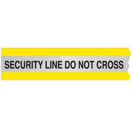 A yellow and silver photograph of a 05365 reflective barricade tape, reading security line do not cross.
