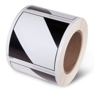 A roll of 500 diamond-shaped labels with black bars at the top and bottom and white center bar.
