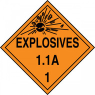 An orange and black photograph of a 03080 dot explosives placards, reading explosives 1.1A 1 with graphic.