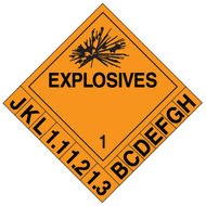 A orange and black photograph of a 03090 dot 1.1-1.3 explosives placard systems w/ numbers and letters and graphic.