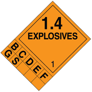 A orange and black photograph of a 03092 dot 1.4 explosives placard system w/ numbers and letters.