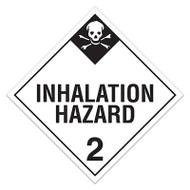 Photograph of a black and white 03102 DOT Hazardous Material Placards, Class 2.3, Inhalation Hazard (Toxic Gases) with skull graphic.