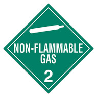A green and white photograph of a 03103 class 2 dot hazardous material placards, reading non-flammable gas with graphic.