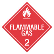 A red and white photograph of a 03105 class 2 dot hazardous material placards, reading flammable gas with graphic.