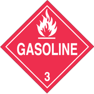 A red and white photograph of a 03106 class 3 dot hazardous material placards, reading gasoline with graphic.