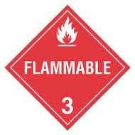 DOT Hazardous Material Placards, Class 3, Flammable