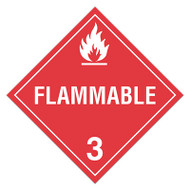 A red and white photograph of a 03107 class 3 dot hazardous material placards, reading flammable with graphic.