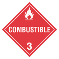 A red and white photograph of a 03108 class 3 dot hazardous material placards, reading combustible with graphic.