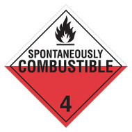 A red and white photograph of a 03110 class 4 dot hazardous material placards, reading spontaneously combustible 4 with graphic.