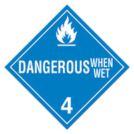 A blue and white photograph of a 03111 class 4 dot hazardous material placards, reading dangerous when wet with graphic.