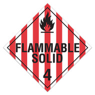 A red and white photograph of a 03112 class 4 dot hazardous material placards, reading flammable solid 4 with graphic.