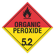 A red and yellow photograph of a 03113 class 5.2 dot hazardous material placards, reading organic peroxide with graphic.