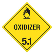 A yellow and black photograph of a 03114 class 5.1 dot hazardous material placards, reading oxidizer with graphic.