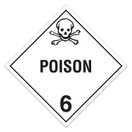 A white and black photograph of a 03116 class 6.1 dot hazardous material placards, reading poison with graphic.