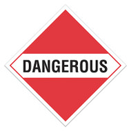 A red and white photograph of a 03122 dot hazardous material placards for mixed loads, reading dangerous.