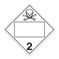 A photograph of a 03140 4 digit blank class 2.3 dot placards, with toxic gases graphic.