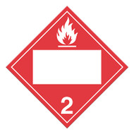 A red and white photograph of a 03141 4 digit blank class 2 dot placards, with flammable gas graphic.