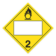 A yellow and white photograph of a 03143 4 digit blank class 2 dot placards, with oxidizing gases graphic.
