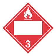 A red and white photograph of a 03144 4 digit blank class 3 dot placards, with flammable liquid graphic.