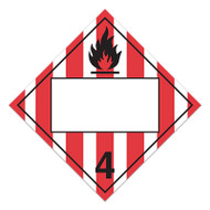 A red and white photograph of a 03145 4 digit class 4 blank dot placards with flammable solid graphic.