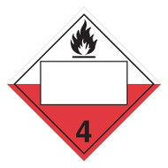A red and white photograph of a 03146 4 digit blank class 4 dot placards, with spontaneously combustible graphic.
