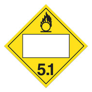 A yellow and white photograph of a 03148 4 digit blank class 5 dot placards, with oxidizer graphic.