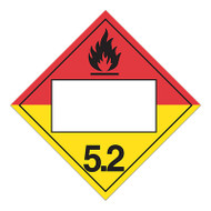 A red and yellow photograph of a 03149 4 digit blank class 5 dot placards, with organic peroxide graphic.