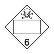 A white and black photograph of a 03151 4 digit blank class 6 dot placards, with toxic/poison graphic.