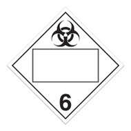 A white and black photograph of a 03152 4 digit blank class 6 dot placards, with infectious substances graphic.