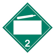 A green and white photograph of a 03142 4 digit blank class 2 dot placards, with non-flammable gas graphic.