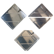 A photograph of a 03171 solid back, split frame, and clipped corner dot placard holder frame systems.