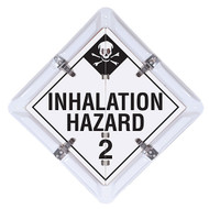 Photograph of white and black inhalation hazard dot placard in flip system.