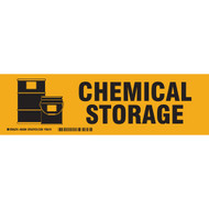 A orange and yellow photograph of a 03404 chemical storage cabinet label with graphic.