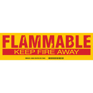 A red and yellow photograph of a 03407 flammable keep fire away cabinet labels.