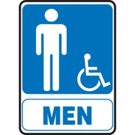 Restroom Signs, MEN w/ Male and Wheelchair Graphic, Portrait