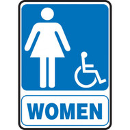 Restroom Signs, WOMEN w/ Female and Wheelchair Graphic, Portrait