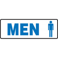 "Blue on White Men/Women/Restroom Signs with Graphics, 12"" w x  4"" h"