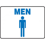 Blue on White Men/Women/Restroom Signs with Graphics, Landscape