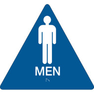 A blue and white photograph of a 03475 California ada rest room sign, reading men, with grade 2 braille.