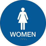A blue and white photograph of a 03476 California ada rest room sign, reading women, with grade 2 braille.
