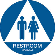 A blue and white photograph of a 03477 California ada restroom sign with grade 2 braille.