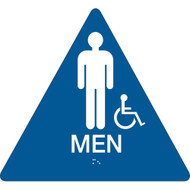 A blue and white photograph of a 03478 California ada rest room sign, reading men, with grade 2 braille and wheelchair icon.